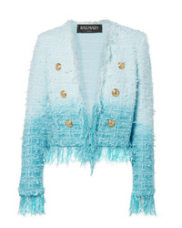 Balmain Fringed Ombr Tweed Jacket