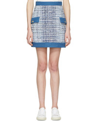 PIERRE BALMAIN Blue Tweed Miniskirt