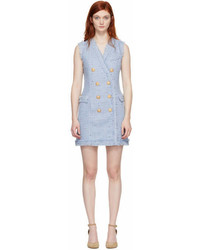 Balmain Blue Tweed Double Breasted Dress