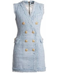 Balmain V Neck Button Embellished Dress