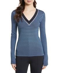 Diane von Furstenberg Banded V Neck Sweater