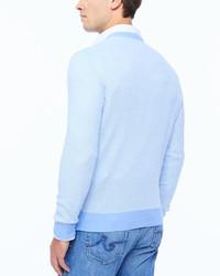 Neiman Marcus Birdseye V Neck Sweater Light Blue   Where to buy ...