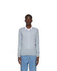 Lanvin Blue Merino V Neck Sweater