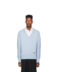 AMI Alexandre Mattiussi Blue Oversized V Neck Sweater