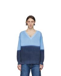 MSGM Blue V Neck Sweater