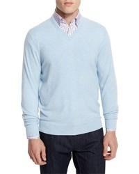 Light Blue V-neck Sweaters for Men | Men's Fashion