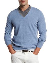 Contrast collar cashmere sweater medium 1138797