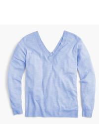 Italian featherweight cashmere double v neck sweater medium 3744215