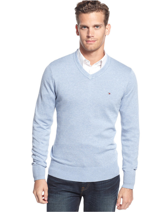 66709988238fd Tommy Hilfiger Signature V Neck Sweater 49 Y S Lookastic