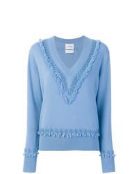Barrie Textured Trim V Neck Sweater