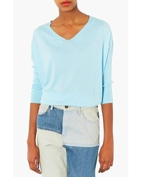 Topshop Knit V Neck Sweater Pale Blue 10