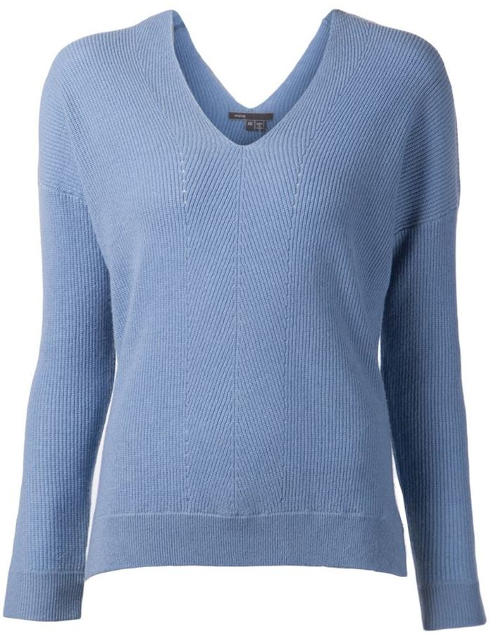 316293d0 Vince Ribbed V Neck Sweater, $325 | farfetch.com | Lookastic.com