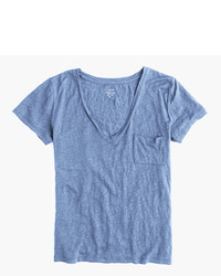 J.Crew Linen V Neck Pocket T Shirt