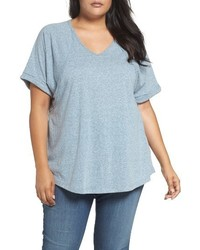 Sejour Plus Size Heathered V Neck Tee