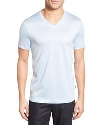 BOSS Teal Slim Fit Mercerized Cotton V Neck T Shirt