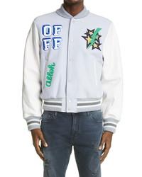Off-White Logo Leather Sleeve Wool Blend Varsity Jacket