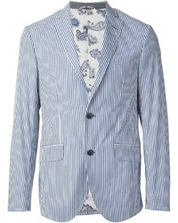 Light Blue Vertical Striped Blazer