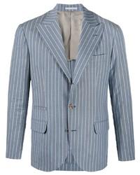 Brunello Cucinelli Striped Single Breasted Linen Blazer