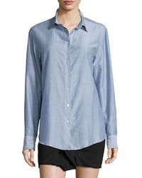 Isabel Marant Pinstriped Cotton Button Down Blouse Blue