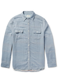 Light Blue Vertical Striped Chambray Long Sleeve Shirt