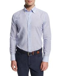 Chambray striped long sleeve sport shirt blue stripes medium 782757