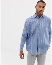 Light Blue Vertical Striped Denim Shirt