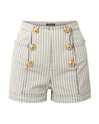 Balmain Button Embellished Striped Denim Shorts