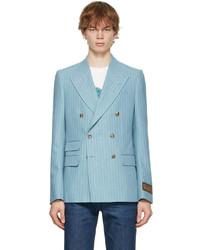 Gucci Blue White Eschatology Stripe Patch Blazer