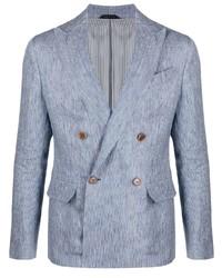 Giorgio Armani Double Breasted Pinstriped Blazer