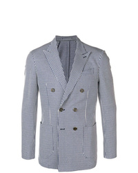 Eleventy Striped Double Breasted Blazer