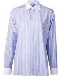 Light Blue Vertical Striped Dress Shirt