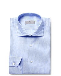 Canali Blue Slim Fit Pinstriped Linen Shirt