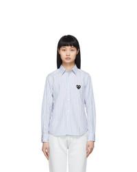Comme Des Garcons Play Blue Striped Heart Patch Shirt
