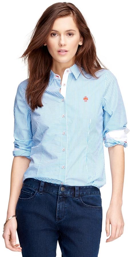 Light blue vertical striped dress shirt brooks brothers for Vertical striped dress shirt