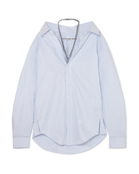 Alexander Wang Chain Embellished Striped Cotton Poplin Shirt