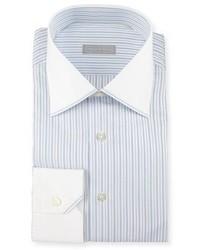Stefano Ricci Contrast Collarcuff Striped Dress Shirt