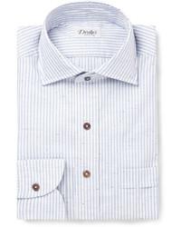 Drakes Drakes Blue Striped Slub Cotton Shirt