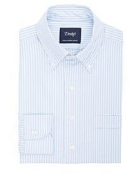 Drakes Drakes Striped Oxford Cloth Dress Shirt Blue