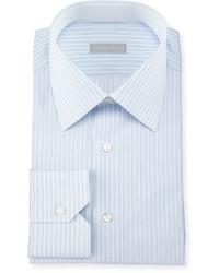 Fancy striped woven dress shirt blue medium 594678