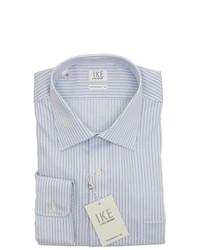 Ike Behar Blue White Striped Cotton Dress Shirt