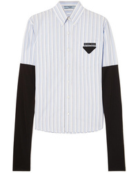 Prada Med Striped Cotton Poplin Shirt