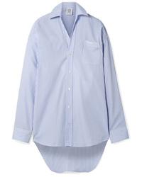 Vetements Oversized Embroidered Striped Cotton Poplin Shirt