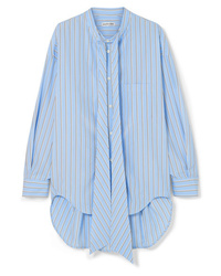 Balenciaga Oversized Printed Striped Cotton Poplin Shirt
