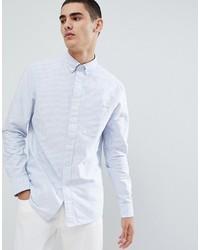 Calvin Klein Oxford Shirt In Blue Stripe With Pocket