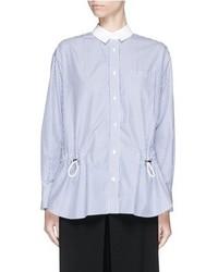 Sacai Luck Drawstring Stripe Cotton Blend Poplin Shirt