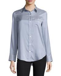 Theory Simara Striped Silk Button Down Shirt