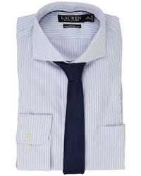 Lauren Ralph Lauren Stretch Slim Fit Pinpoint English Spread Collar With Pocket Dress Shirt Long Sleeve Button Up