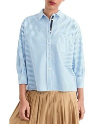 J.Crew Stripe Oversize Button Front Poplin Shirt