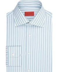 Isaia Stripe Poplin Dress Shirt Blue