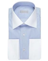 Stefano Ricci Striped Dress Shirt With Solid Collar Cuffs